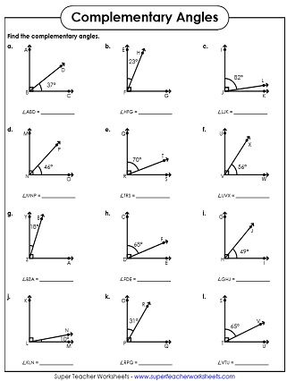 Complementary and Supplementary Angle Worksheets