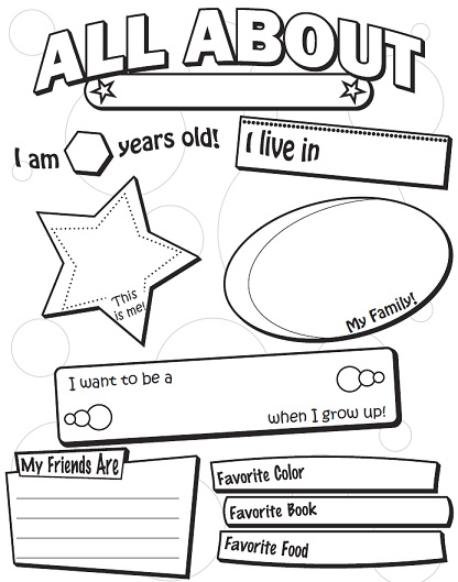 graphic about All About Me Printable known as A Back again toward College or university Worksheets