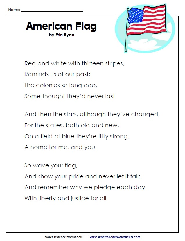 Printable Poem About the American Flag – Fraction Flags Worksheet