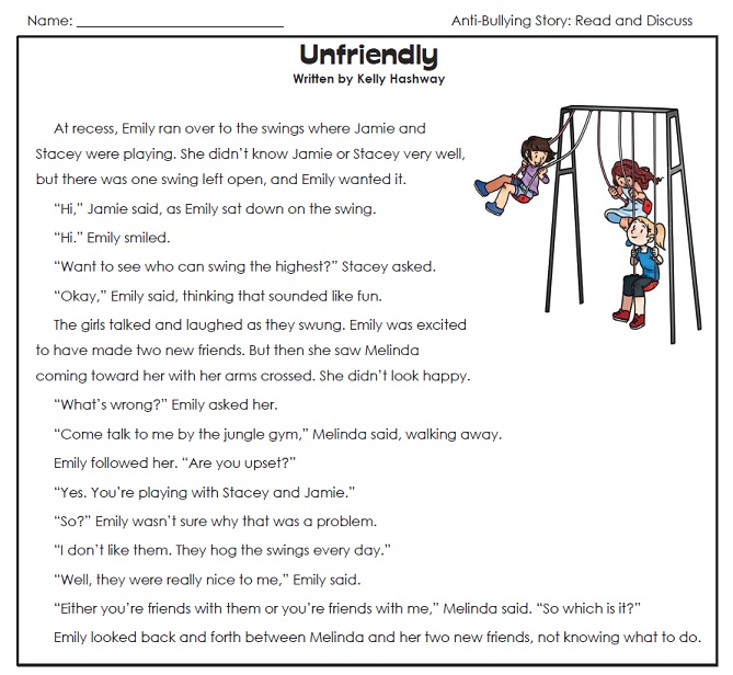 Printables Bullying Worksheets For Kids anti bullying story unfriendly