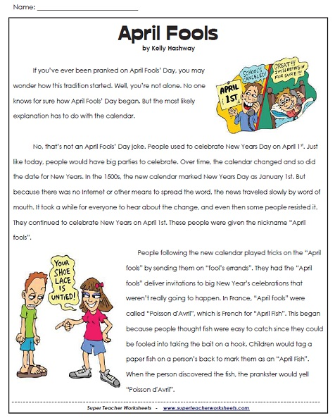 Worksheets Super Teacher Worksheets Reading Comprehension april fools fools