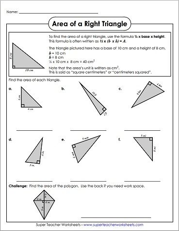 Area Of Right Triangles