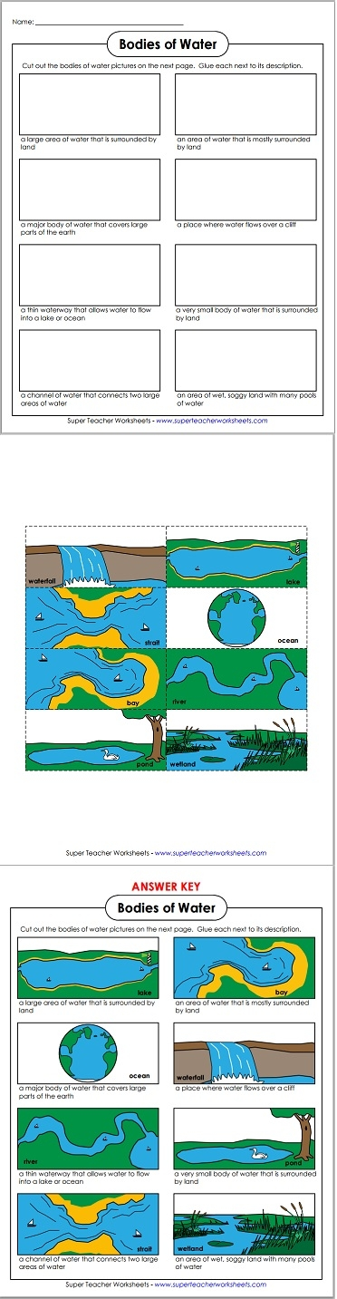 Bodies of Water Worksheet