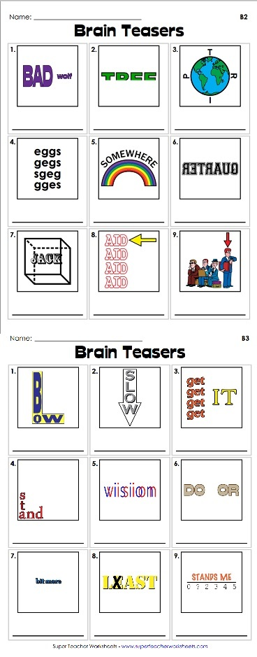 Rebus Puzzles Super Teacher Worksheets   2016 Car Release Date