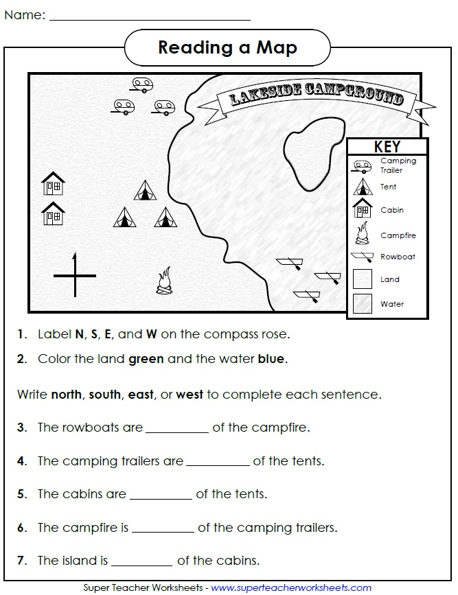 Reading A Map Cardinal Directions Grade 3 Worksheets Lakeside Campground Map