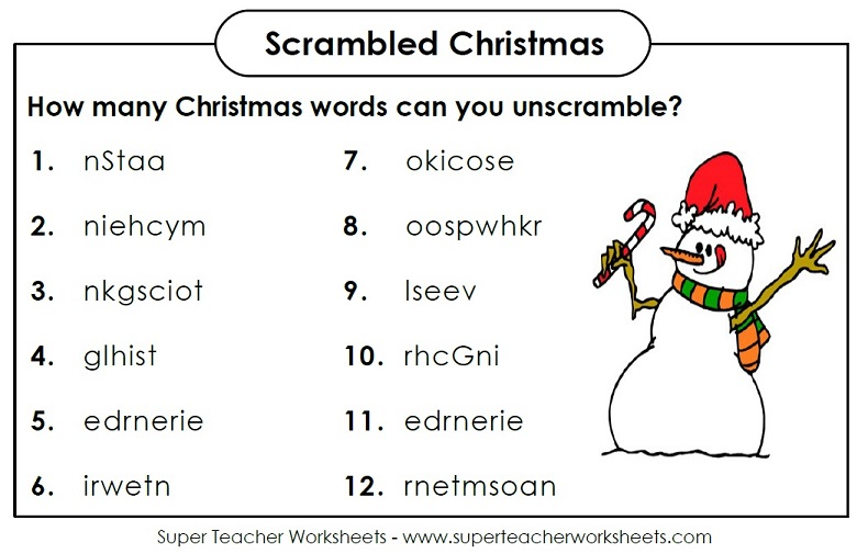 christmasscramblejpg – Free Super Teacher Worksheets