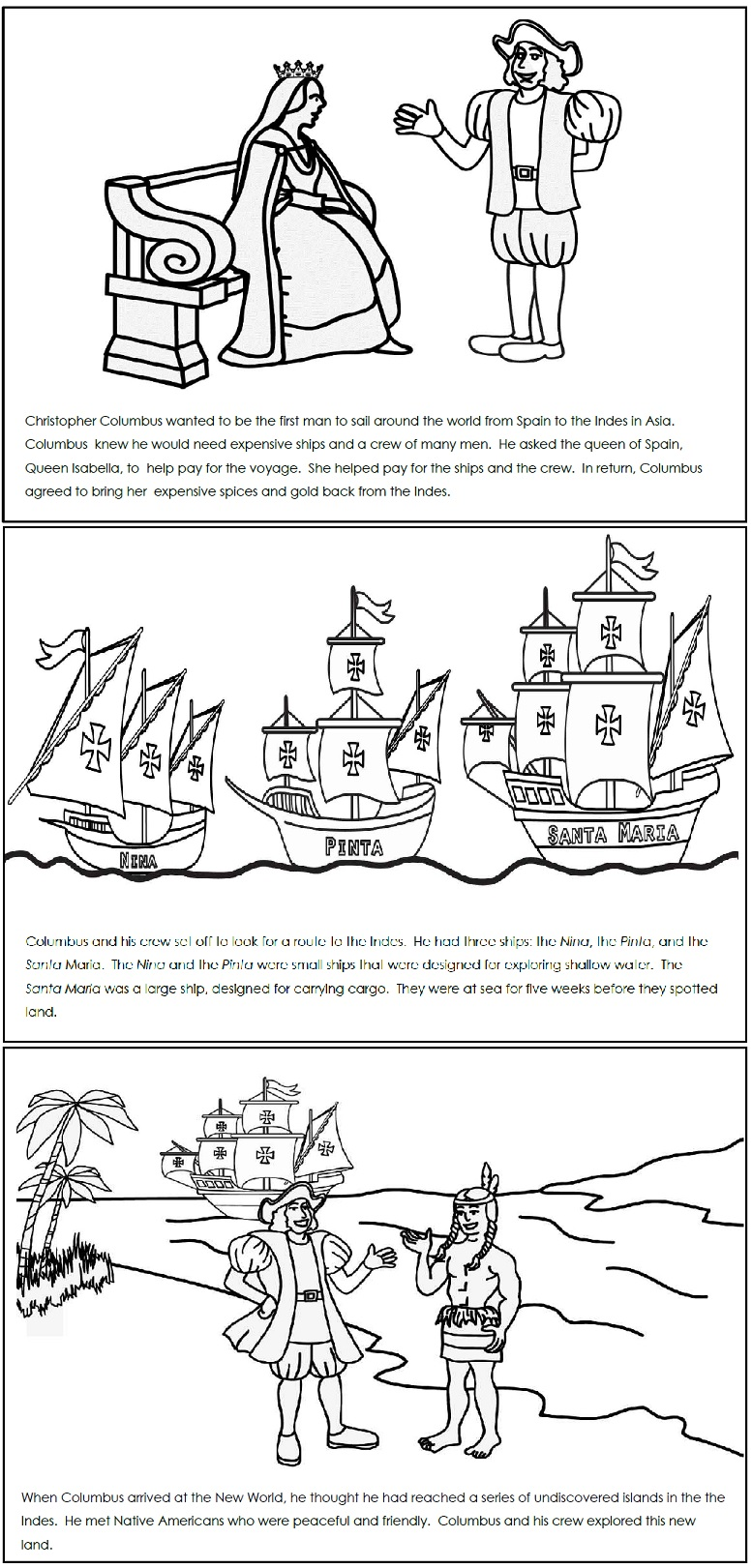 Worksheets Columbus Day Worksheets a columbus day read and color book book