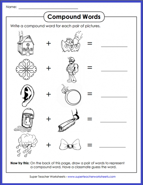 photo relating to Printable Compound Word Games identify Substance Phrases Worksheets