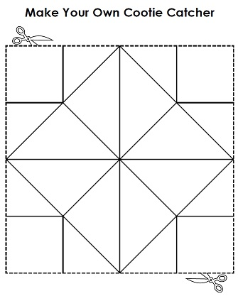 picture about Cootie Catcher Printable titled Printable Cootie Catcher a.k.a Fortune Teller
