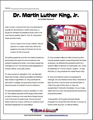 Worksheets Super Teacher Worksheets Reading luther king article dr martin jr reading comprehension