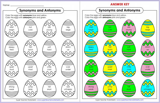 Synonym and Antonym Easter Eggs Enchanting Pattern Synonym