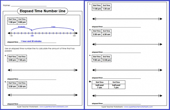 Elapsed Time Number Line Super Teacher Worksheets