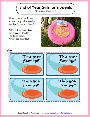 End of the School Year Frisbee Gift - Printable Labels