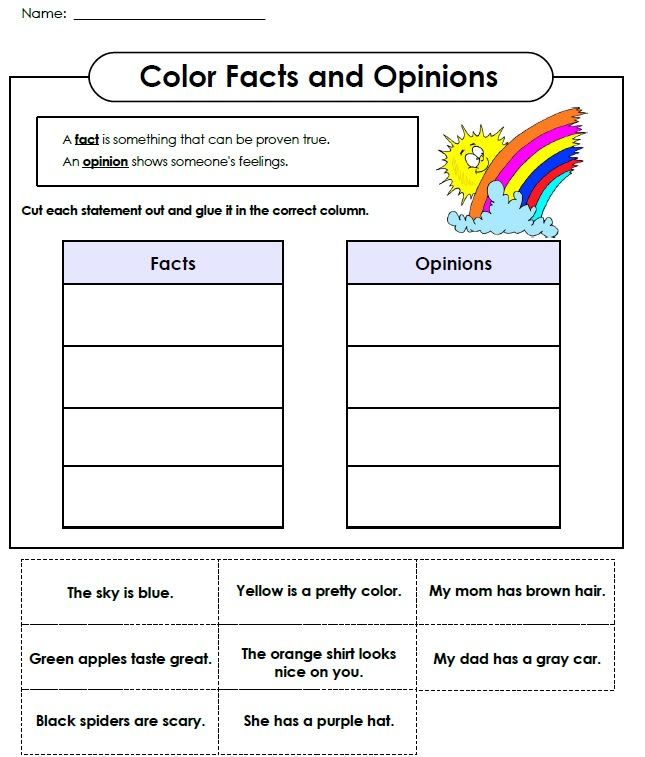 Printables Fact And Opinion Worksheets printable fact and opinion worksheet coloring opinion