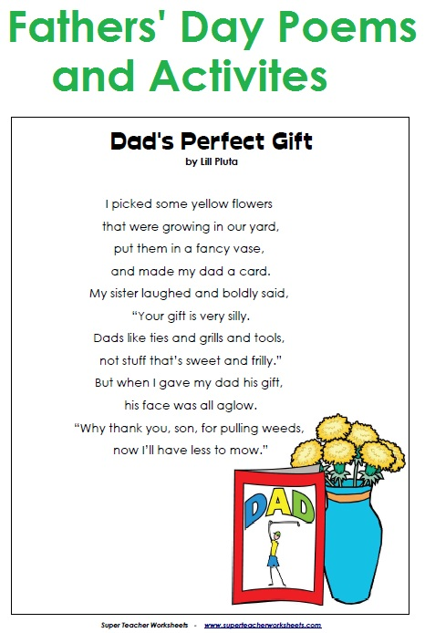 Take a look at our Father's Day Cards, Poems, and Worksheets .