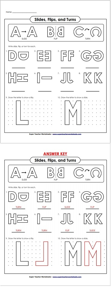 Flip Slide Turn Worksheets - Davezan