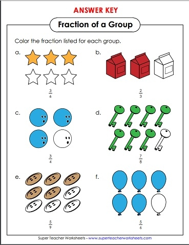 Printables Super Teacher Worksheets Fractions fraction of a group