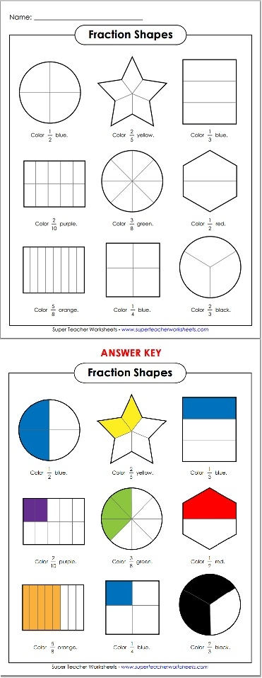 Printables Super Teacher Worksheets Fractions basic fraction shapes