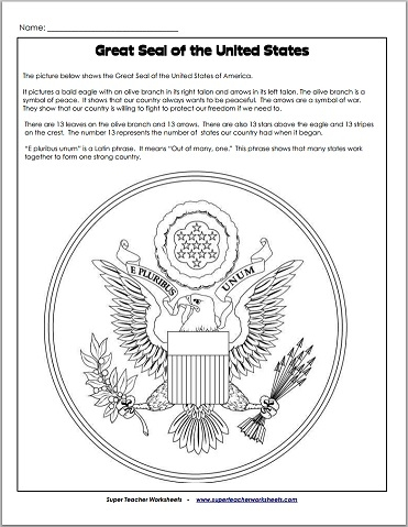 Great Seal of the United States - Worksheet