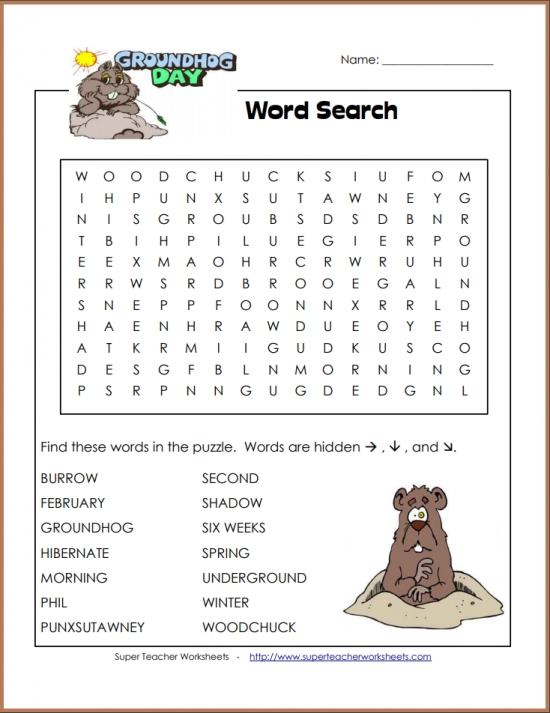 Groundhog Day Intermediate Word Search