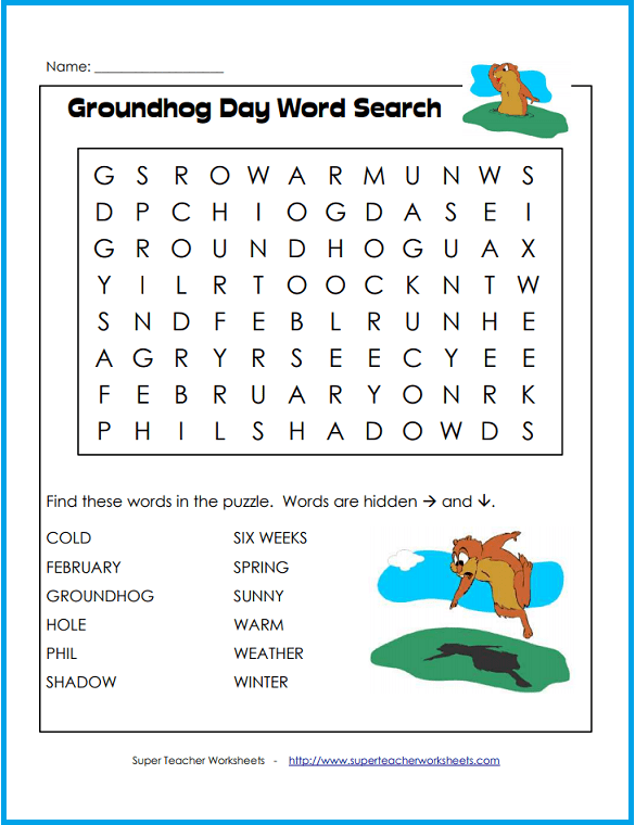 groundhog day easy word search. Black Bedroom Furniture Sets. Home Design Ideas
