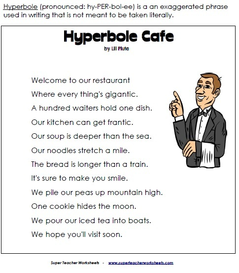 Printables Hyperbole Worksheets hyperbole cafe worksheet