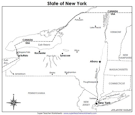 Blank New York State Map.A Printable State Map