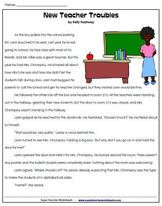 Worksheets Super Teacher Worksheets Reading back to school reading new teacher trouble