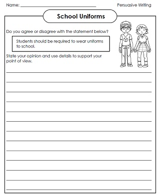 printable persuasive writing essays school uniforms