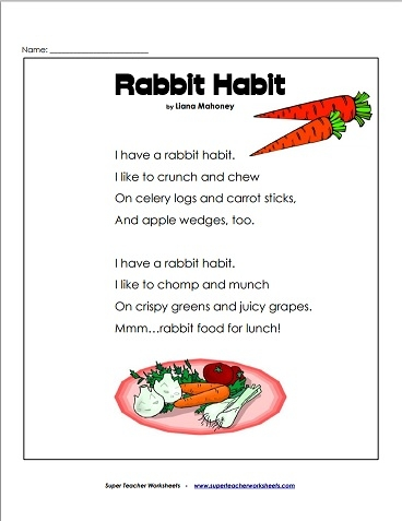 Worksheets Super Teacher Worksheets Reading Comprehension rabbit habit poem