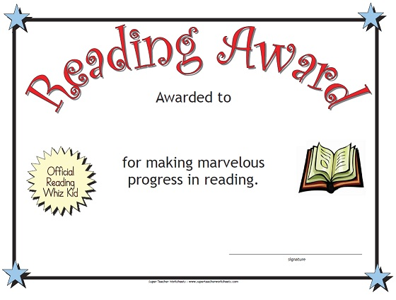 Reading Award – Super Teacher Worksheets Reading