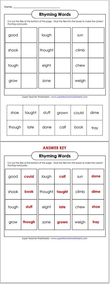 math worksheet : cut and glue rhyming words : Rhyming Cut And Paste Worksheets For Kindergarten