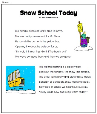Printables Super Teacher Worksheets Reading a winter poem snowy school day poem