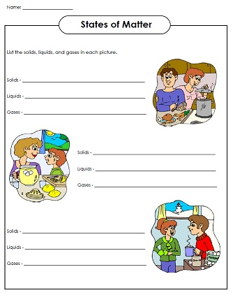 Matter Worksheets Solid Liquid And Gas