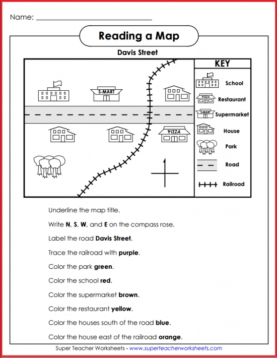 Map Skills Worksheets Basic Map Skills   Davis Street Activity