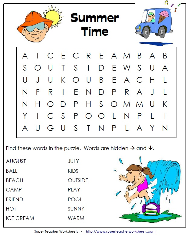 picture regarding Kindergarten Word Search Printable titled Printable Summertime Term Seem
