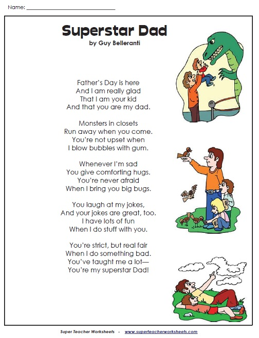 A Fathers Day Poem – Super Teacher Worksheets Kindergarten