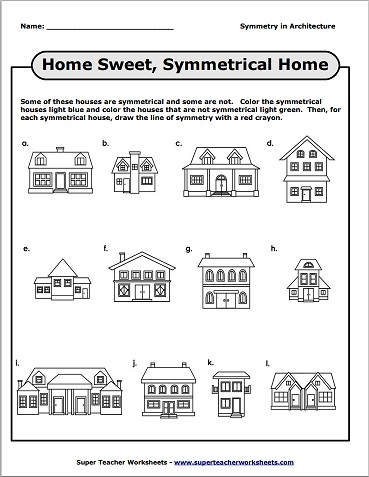 Number Names Worksheets geometry 1 worksheets : Symmetrical Houses Geometry Worksheet