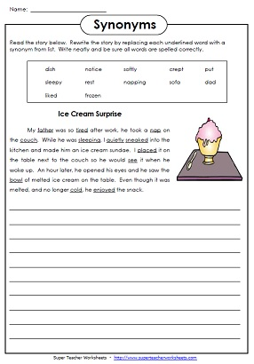 Worksheet Synonym Worksheets printable synonym worksheets synonyms 2 rewrite the story