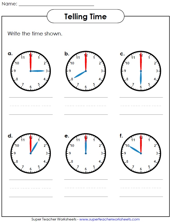 Printable Worksheet for Telling Time – Worksheets on Telling Time