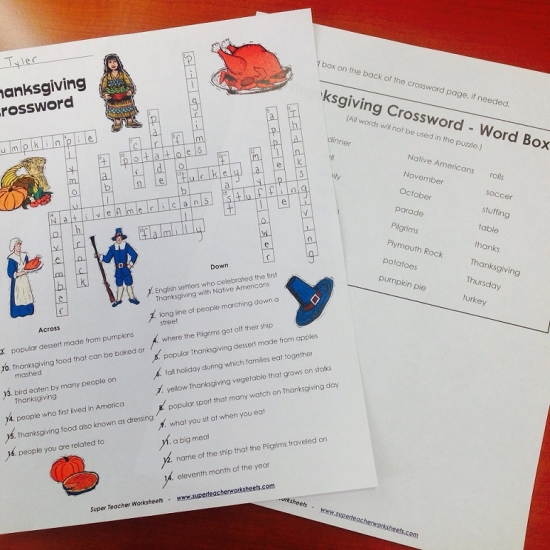 Worksheets Super Teacher Worksheet Password thanksgiving crossword