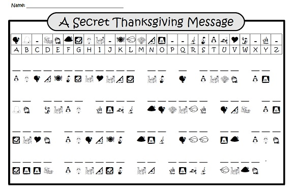 Printables Thanksgiving Worksheets a secret thanksgiving message crypto code riddle