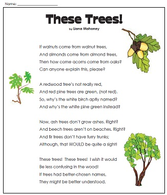 ... Poem Vist our Earth Day Worksheets page to view the entire collection