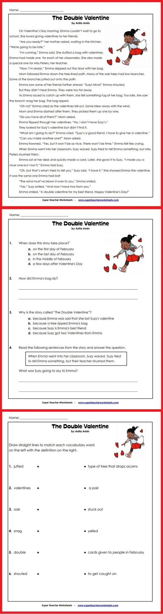 worksheet Super Teacher Worksheets Reading Comprehension valentines day story this english language arts activity includes reading comprehension questions a writing prompt and vocabulary words
