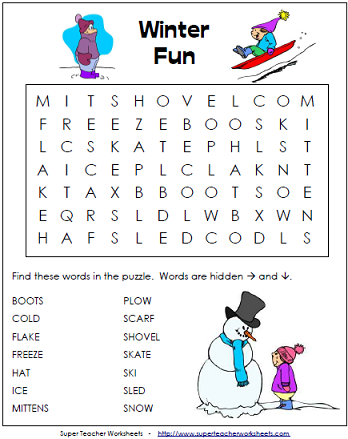 picture about Winter Word Search Printable identified as Wintertime Phrase Glimpse Puzzle Other Worksheets