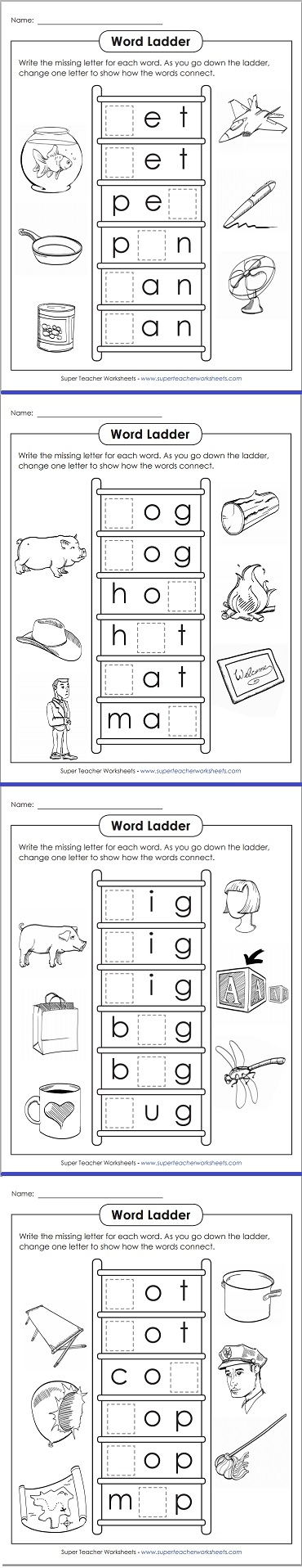 Word Ladder Worksheets
