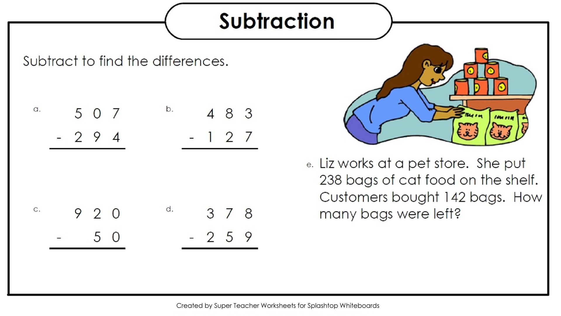 Worksheets Superteacher Worksheet whiteboard background graphics three digit subtraction