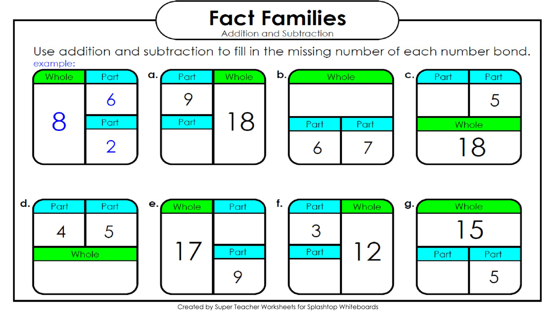 worksheet Fact Family Worksheets For 1st Grade splashtop whiteboard background graphics additionsubtraction fact family boxes