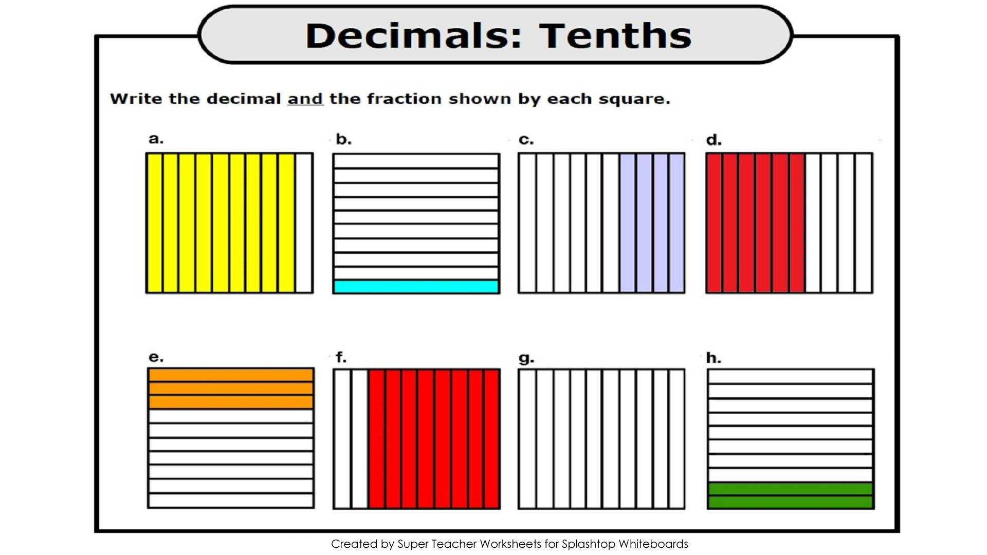 ... decimal shown by each picture. All decimal pictures represent tenths