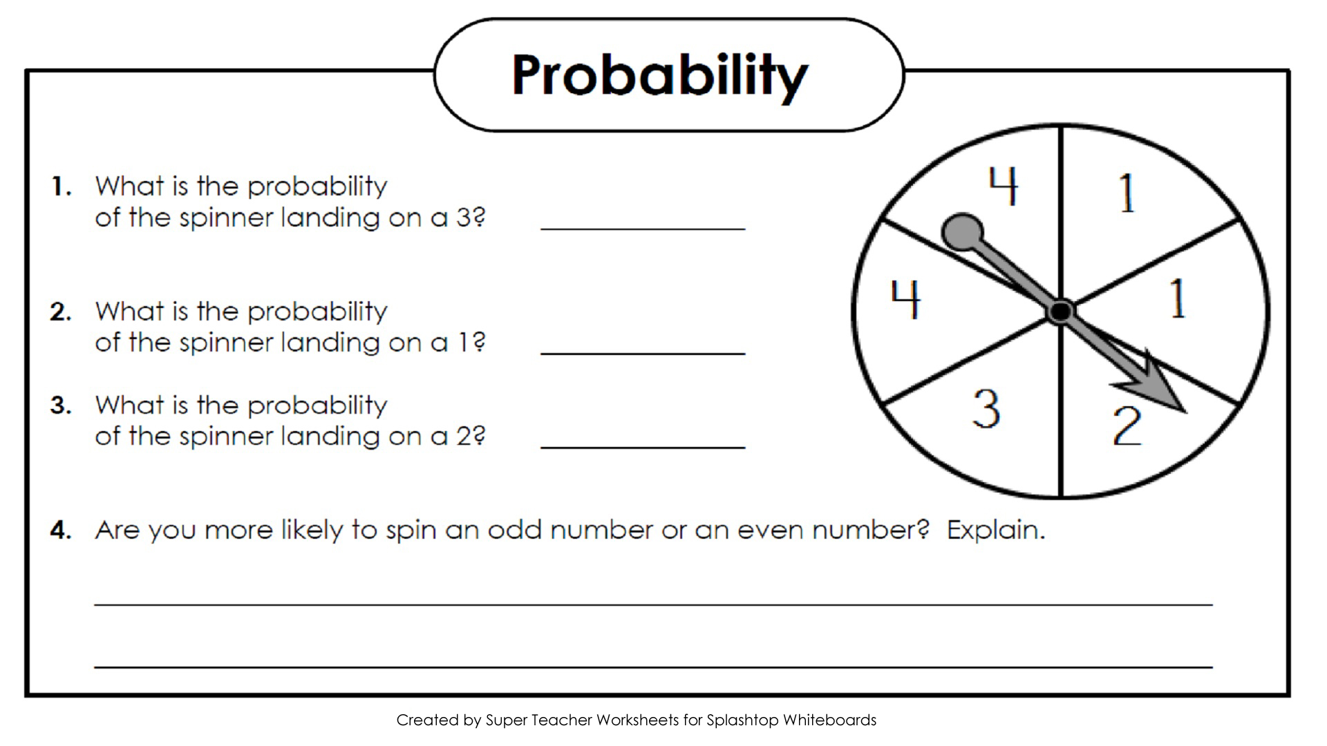 Worksheets Super Teacher Math Worksheets splashtop whiteboard background graphics probability spinner 1